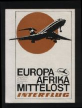 Airline luggage label Interflug   rare  #401